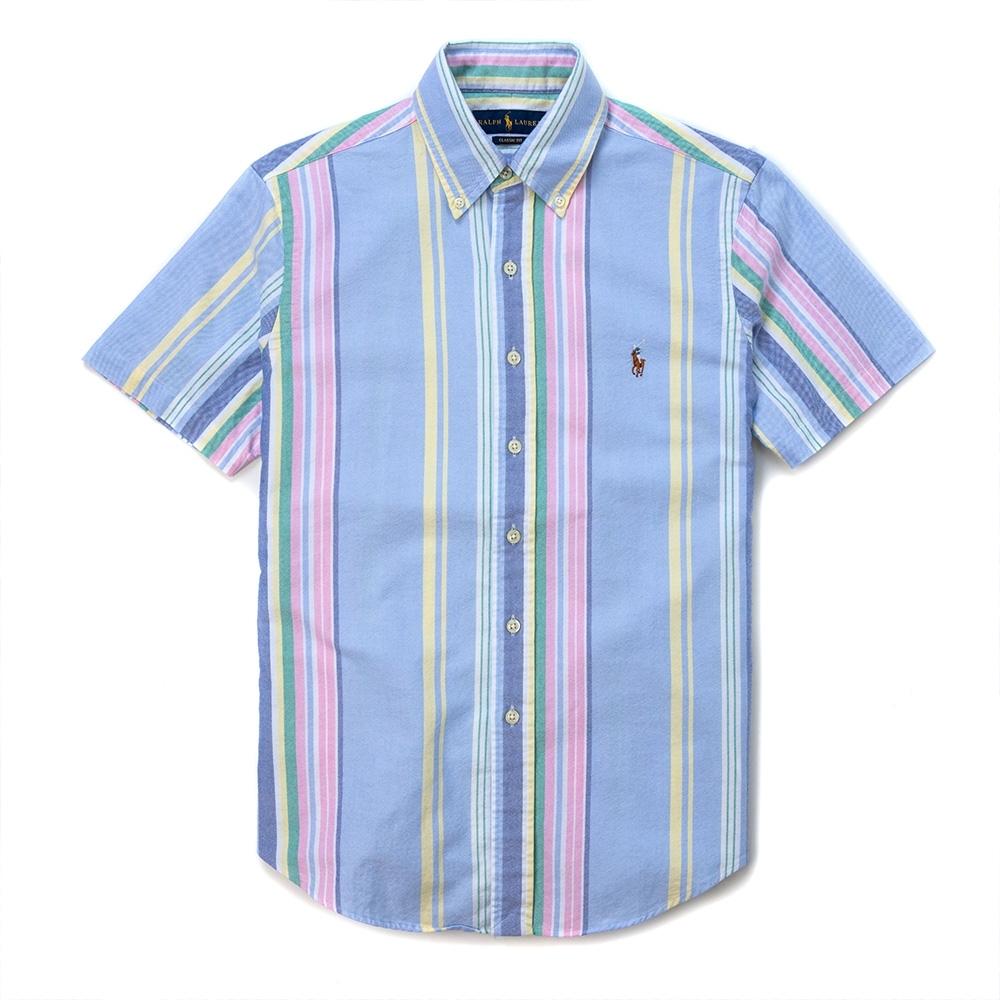 Polo Ralph Lauren 年度經典刺繡小馬短袖商務襯衫CLASSIC FIT-彩虹直條紋色