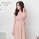 東京著衣-YOCO 法式浪漫V領微透袖子上衣-S.M.L(共二色)
