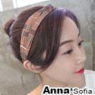 AnnaSofia 格紋元素交叉結 彈性寬髮帶(粉系)