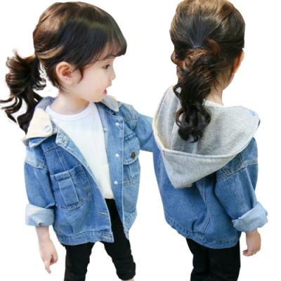 JoyNa兒童牛仔外套男童女童連帽夾克