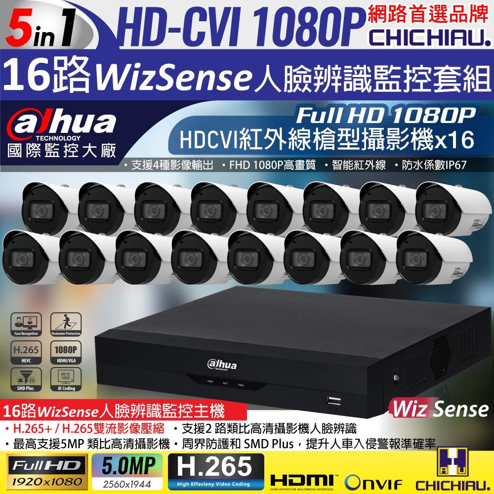 【CHICHIAU】Dahua大華 H.265 5MP 16路CVI 1080P數位遠端監控套組(含2MP智能紅外線攝影機x16)
