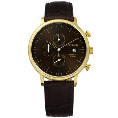 CITIZEN 星辰表 三眼星期顯示日本機芯壓紋真皮手錶-咖啡x金框/41mm
