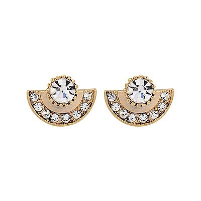 LOVERS TEMPO加拿大品牌 施華洛世奇水晶圓弧造型金色耳環