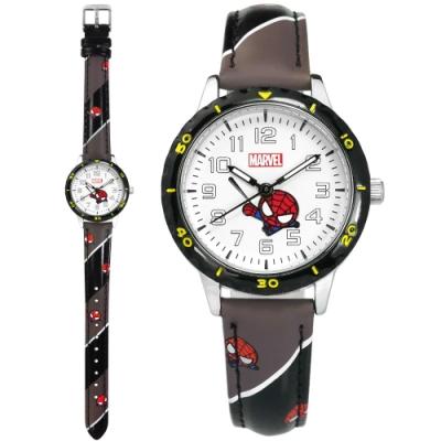 Disney 迪士尼 漫威系列 Q版蜘蛛人 兒童錶 卡通錶 皮革手錶-白x黑灰/32mm
