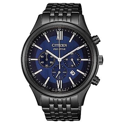 CITIZEN 星辰光動能尊爵三眼計時手錶(CA4415-81L)-藍X黑/42mm