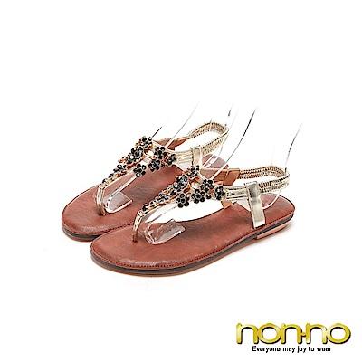 nonno 氣質優雅女人 水晶花造型涼拖鞋 金
