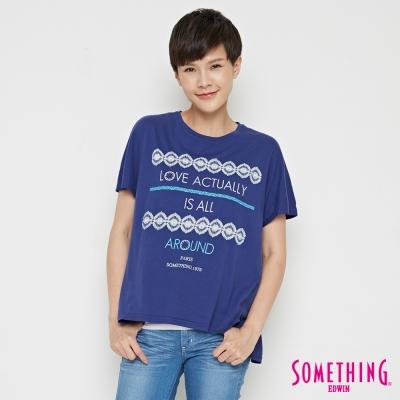 SOMETHING 復古寬鬆圓領T恤-女-丈青