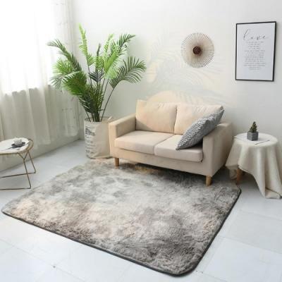 BUNNY LIFE 北歐風長毛絨扎染地毯-淺灰(120x190cm)