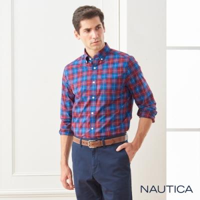 Nautica經典英倫格紋長袖襯衫-紅藍格