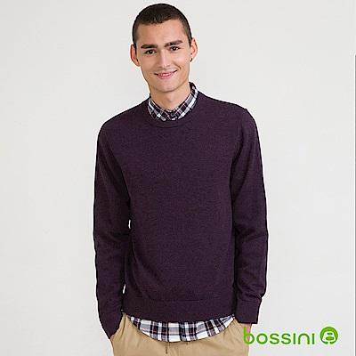 bossini男裝-圓領針織線衫01深紫