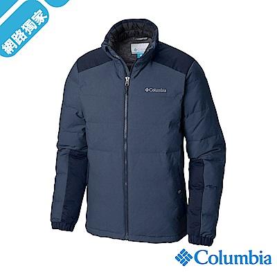 Columbia哥倫比亞 男款- 防潑立領羽絨外套-墨藍 UWE12610