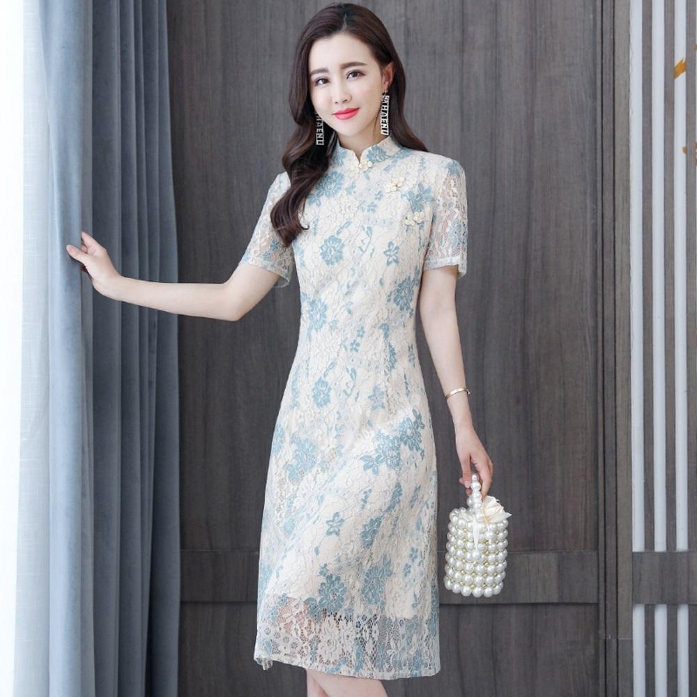 中式古典淺水藍蕾絲現代旗袍洋裝S-2XL-REKO