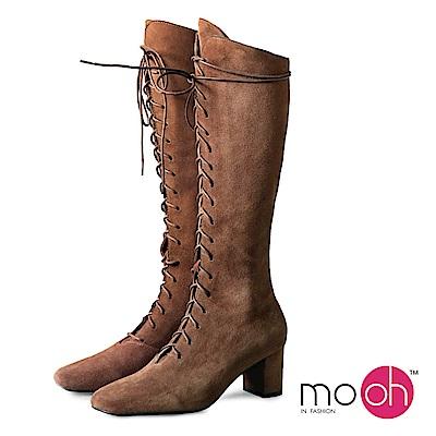 mo.oh-全真皮-粗跟拉鏈綁帶素面長靴-棕色