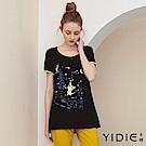 【YIDIE衣蝶】涼感貓咪印花拼接長版上衣