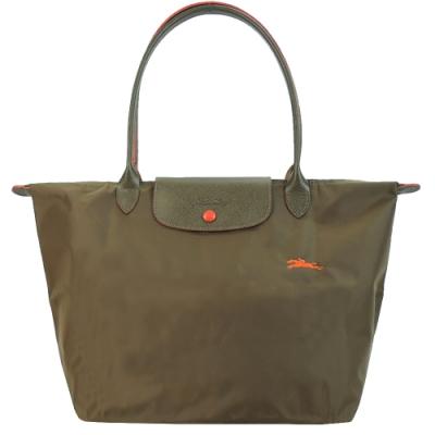 LONGCHAMP Le Pliage Collection刺繡長把折疊水餃包(大/米)