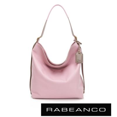 RABEANCO HAIL進口荔枝紋垂墜肩背包 粉色