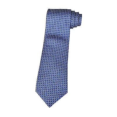 HERMES愛馬仕經典緹花LOGO藍立方格設計蠶絲領帶(深藍)