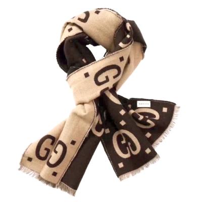 GUCCI 古馳  經典GG提花LOGO厚款雙色羊毛絲質圍巾(米x深咖啡色)