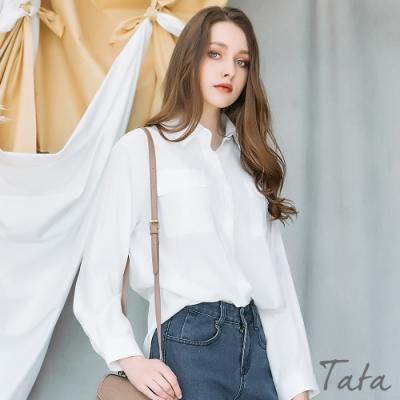微光澤雙口袋抓褶襯衫 共二色 TATA-F
