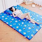 奶油獅 同樂會-高支撐臻愛三折記憶聚合床墊+100%純棉布套-雙人5尺(宇宙藍)