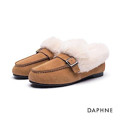 達芙妮DAPHNE 平底鞋-皮帶釦麂皮絨毛休閒平底鞋-棕