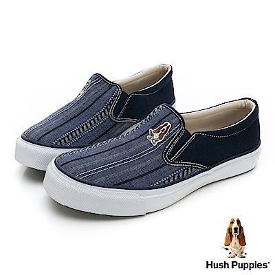 Hush Puppies 極簡民族風咖啡紗懶人便鞋-藍