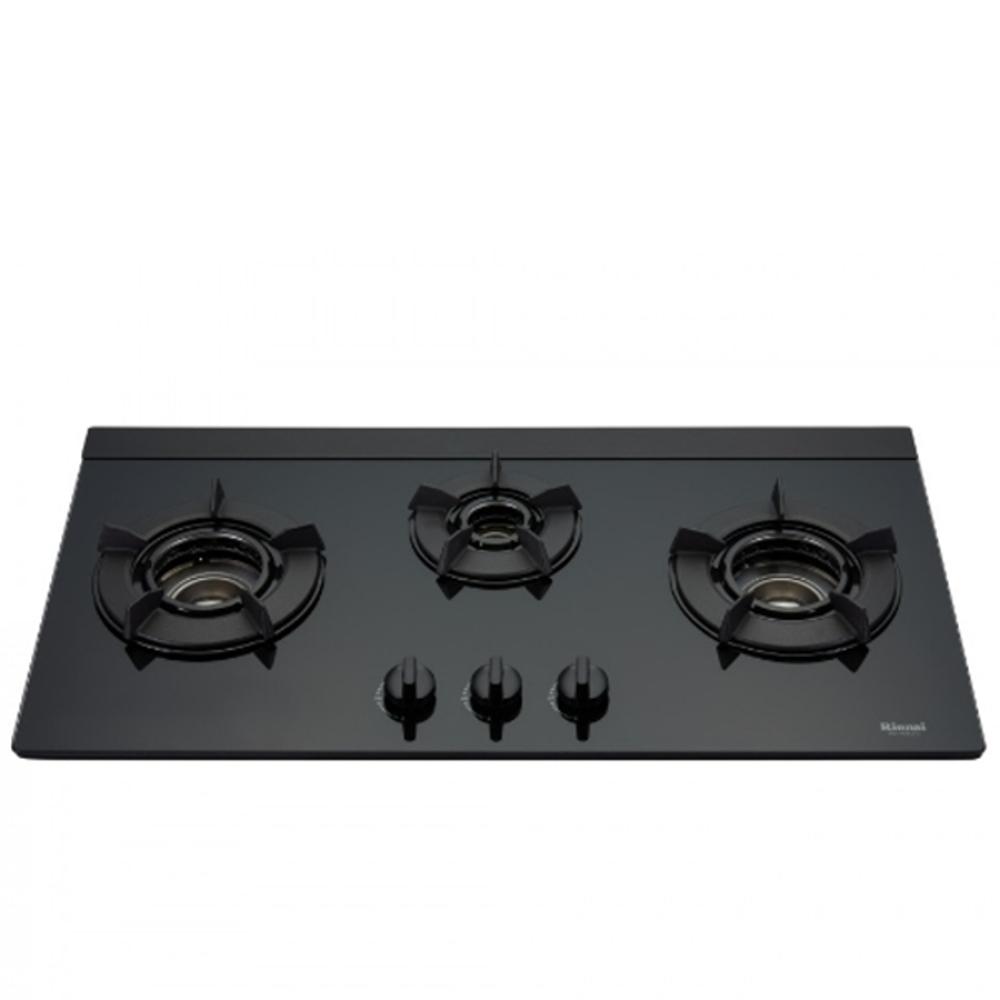 (全省安裝)林內三口內焰玻璃檯面爐內焰爐鑄鐵爐架黑色LED瓦斯爐桶裝瓦斯RB-N312G(B)_LP