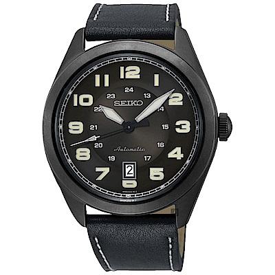 SEIKO 精工 飛行時代機械手錶-黑/44mm