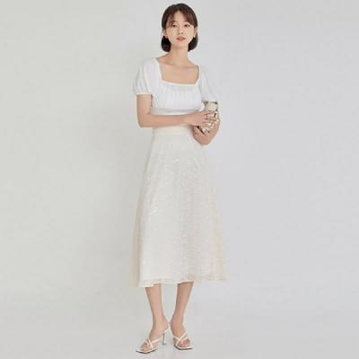 長裙 高腰剪花雪紡質感長裙OM81802-創翊韓都