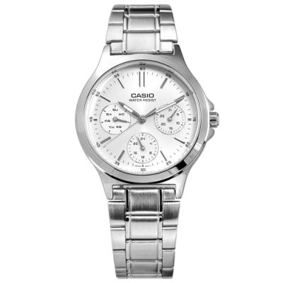 CASIO 卡西歐 簡約 三眼三針 日期 不鏽鋼手錶 銀色 LTP-V300D-7A 32mm
