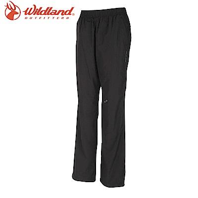 【Wildland 荒野】大尺碼女防風保暖長褲黑