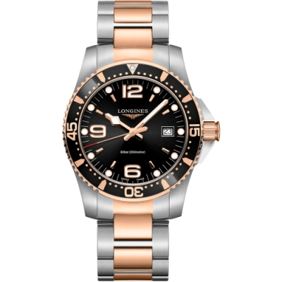 LONGINES浪琴深海征服者300米潛水石英錶 L37403587-玫瑰金x黑-41mm