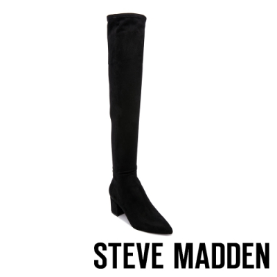STEVE MADDEN-BRINKLY前衛極黑內側拉鍊式粗跟尖頭膝上靴-絨黑色