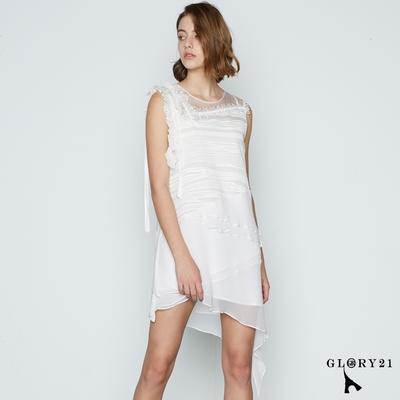 【GLORY21】層次拼接不規則裙擺斜裁棉麻洋裝-白色