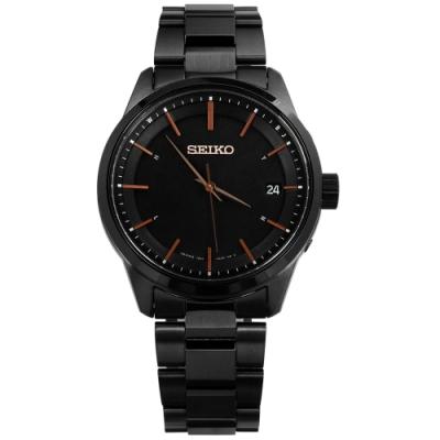 SEIKO 精工 SPIRIT 電波修正 太陽能 藍寶石水晶 不鏽鋼手錶-鍍黑/40mm