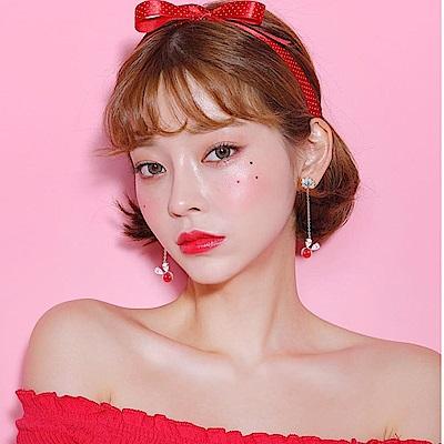 梨花HaNA 無耳洞韓國紅色幸運兔耳朵長水鑽耳環夾式