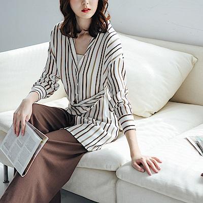 IREAL 多穿法設計感配色條紋襯衫