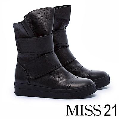 短靴 MISS 21 個性帥女全真皮厚底休閒短靴-黑