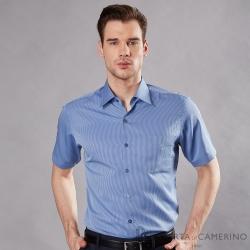 ROBERTA諾貝達 台灣製 合身版 吸濕速乾 商務條紋短袖襯衫 藍色