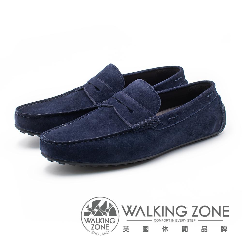 WALKING ZONE 絨面皮革直套開車鞋 男鞋 - 藍(另有灰)