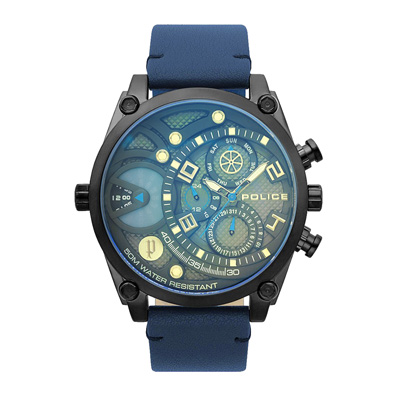 POLICE 雷霆魄力多功能腕錶-藍-15381JSB-61-52mm