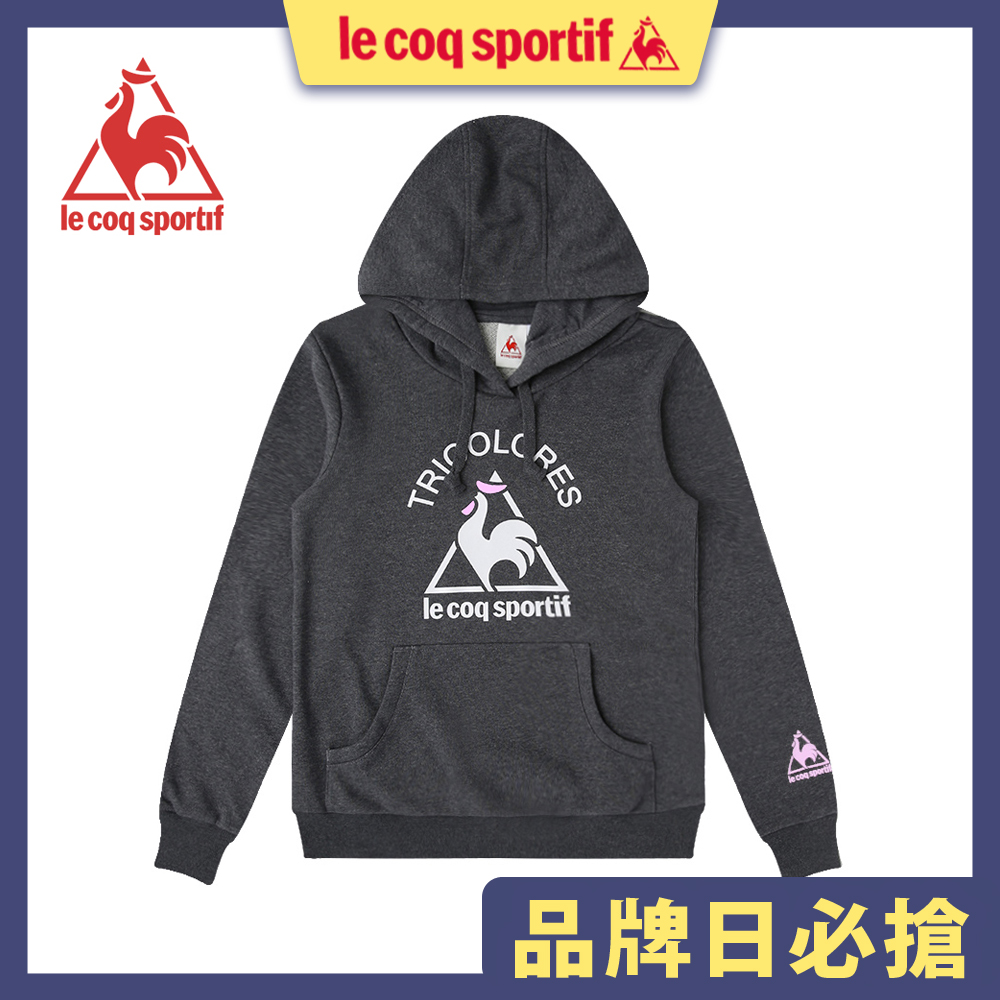 le coq sportif 法國公雞牌長袖連帽T恤 女-深麻灰