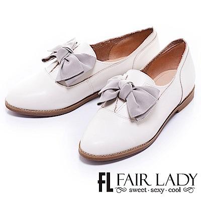Fair Lady Hi Spring中性美蝴蝶結真皮樂福鞋 白