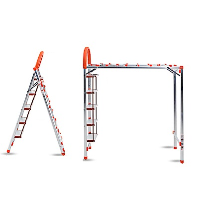 PUSH! 居家生活用品鋁合金可折疊多功能梯子曬衣架防滑五階家用梯I43-1