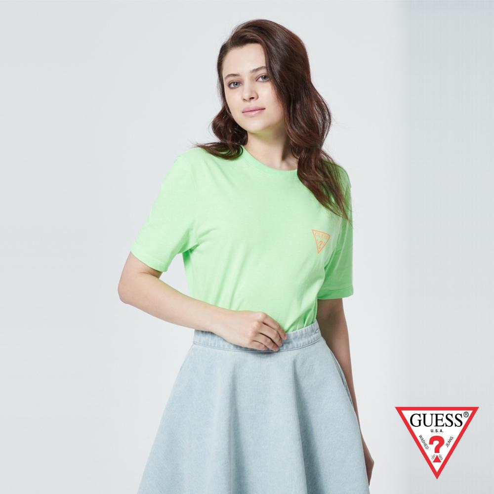 GUESS-女裝-撞色前後雙LOGO短T,T恤-薄荷綠 原價1390