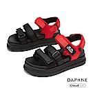 達芙妮DAPHNE 涼鞋-雙條帶魔鬼氈潮流舒適休閒涼鞋-黑色
