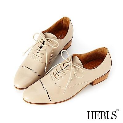 HERLS 女紳品味 全真皮斜線鏤空牛津鞋-米色