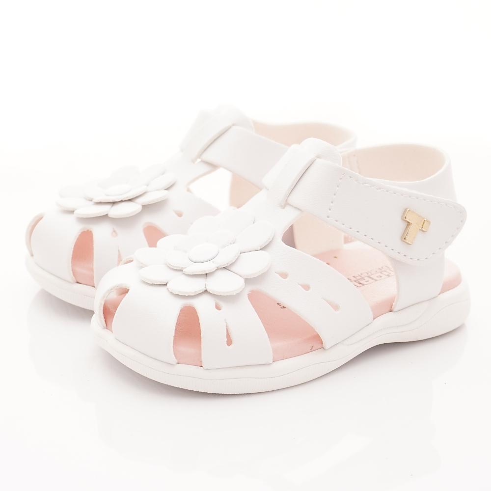 TOPUONE童鞋 小花皮革護趾涼鞋款 SI19501白(小童段)