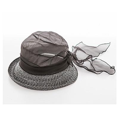 ELLE法式浪漫桑蠶絲輕量遮陽帽清涼防曬女帽_黑