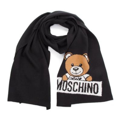 MOSCHINO 經典泰迪熊字母LOGO圖案混織羊毛圍巾/披肩 黑色